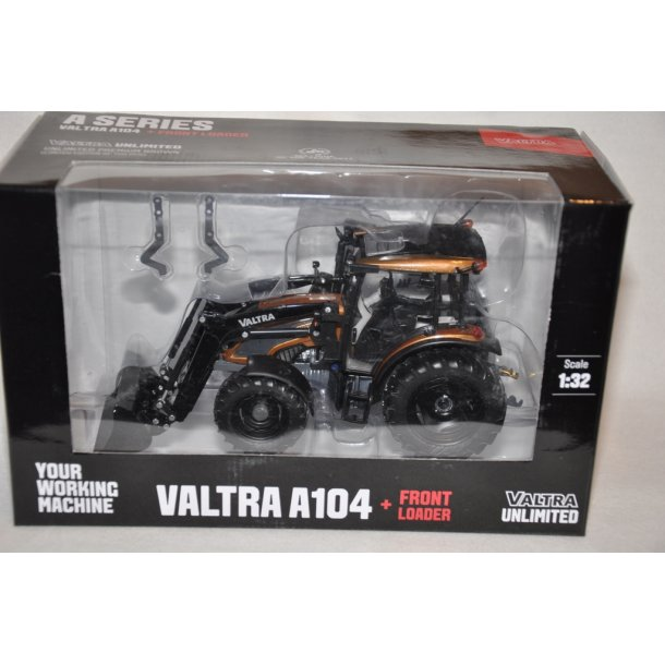Valtra A104 i metalbrun med frontlæsser