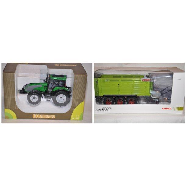 Valtra T + Claas Cargos 8500 opsamler vogn
